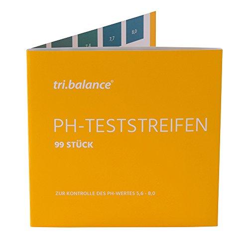 tri.balance pH-Teststreifen 99 Stück – 1er Pack I Messbereich 5,6-8,0 pH I pH-Wert Messung im Urin - Wasser I Kontrolle des Säure-Basen-Haushalts