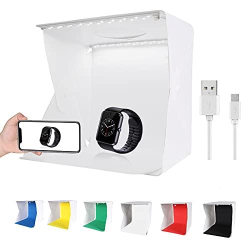 QYXINC Mini Shooting Tent Kit,Portable Folding Photo Studio Light Box,40pcs LED Light with 6 Color Photography Backdrop,23cm Photo Lightbox for Small Size Item