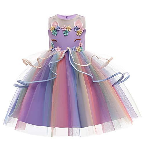 Disfraz infantil de unicornio para carnaval, de princesa, cumpleaos, de manga larga, para Halloween, cosplay, de cuentos de hadas, tut, bodas, fiestas, desfiles, disfraces, ropa Lila-4. 8-9 Years