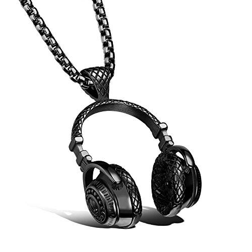 bigshopDE Collar para hombre con auriculares y auriculares de música, de acero inoxidable, negro, cadena de 55 cm