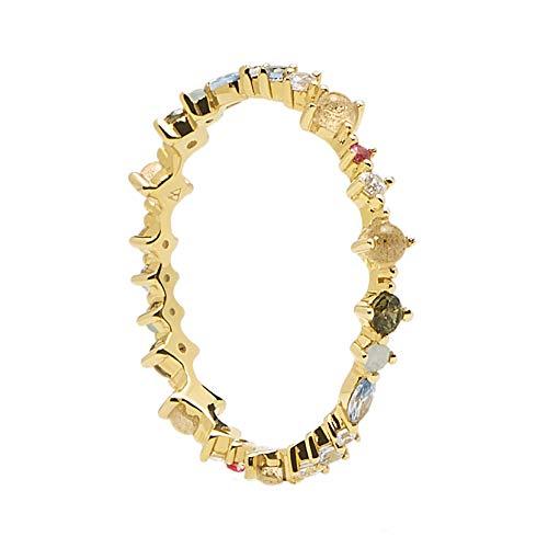 P D PAOLA 925 Sterling Zilveren Goudkleurige Atelier Papillon Ring AN01-191-12 (Maat: 16.5)