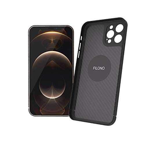 FILONO iPhone 12 Pro Hülle Carbon, ultradünn, hochwertig, schwarz-matt-chic