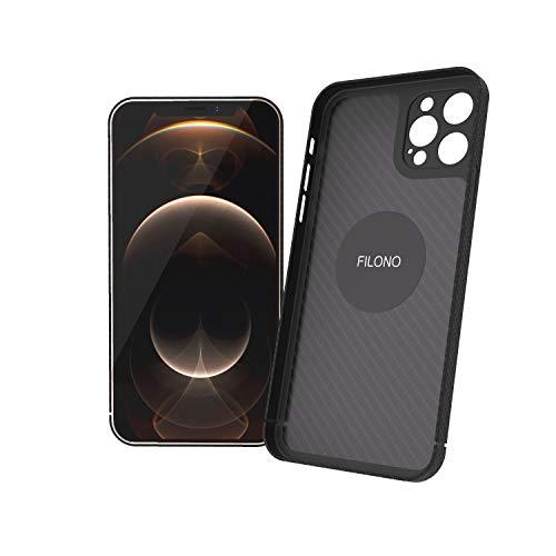 FILONO iPhone 12 Pro Carbon Hülle, ultradünn, hochwertig, schwarz-matt-chic.