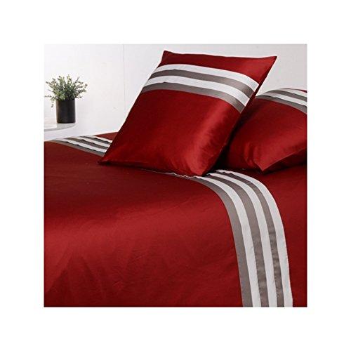 Drap House Housse de Couette Satin plissée 220x240 + 2 taies 65x65 - Couleur: Bordeaux-Gris-Perle