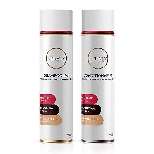 Duo Pack KERATY PROFESSIONAL - Shampoing et Après-Shampoing lissant enrichi en Kératine et Argan - 2 x 250ml