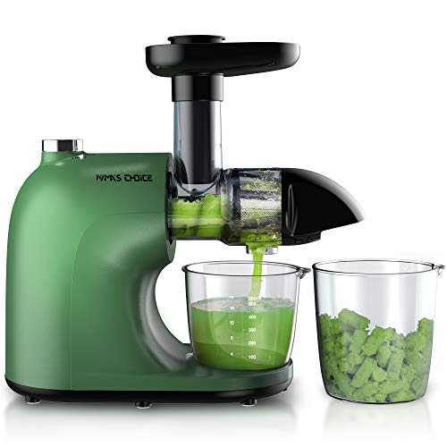 MAMA'S CHOICE Juicer Machines, Slow Juicer Masticating Juicer Extractor Easy to Clean, Cold Press Juicer with Hard, Soft, Reverse Modes, Quiet Motor, Brush, Recipes, Higher Juicer Yield, Drier Pulp