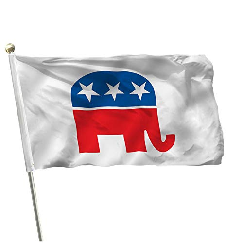 MOFAN US Republican Party Flag Polyester - Nicely Stitched and Vivid Color - Elephant Flags Polyester Banner with 2 Solid Brass Grommets 3x5 Ft Indoor/Outdoor Decoration