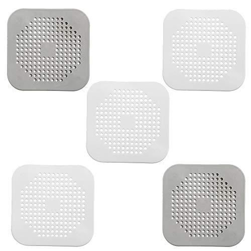DXIA 5 Piezas Colador Fregadero Silicona, Silicona Protector de Drenaje con lechón, Silicona Filtro del Fregadero del Cuarto de Baño, Fácil de Instalar y Limpiar para Baño, Bañera y Cocina