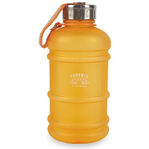 Phoenix Fitness - Tapa para Botella de Agua con Correa (1 L), Color Naranja