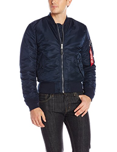 ALPHA INDUSTRIES MA-1 Slim Fit/European Fit Made with 100% Flight Nylon for Intermediate Weather for Men | Slim Fit - Above Hip Length - Size Medium - Replica Blue