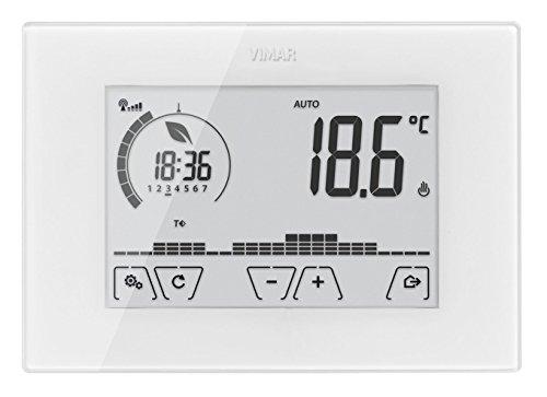Vimar 02911 Cronotermostato WiFi Touch Screen da Parete, per Gestione Temperatura in Locale, da App e Vocale, Alimentazione 230 V~ 50 60 Hz, Bianco, 9,5 x 13,5 x 2,5 cm