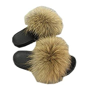 Women Real Fox Fur Feather Vegan Leather Open Toe Single Strap Slip On Sandals Multicolor  8 Natural