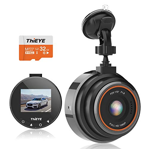 ThiEYE Dash Cam 1080P Full HD DVR Dashboard Video Recorder On-Dash Cameras for Cars with Night Vision, 170° Super Wide Angle, WDR, Loop Recording, Parking Monitor, G-Sensor (32GB SD Card Included)