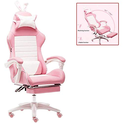 HDZWW Ergonomic Gaming Chair Racing Style Adjustable Height High-Back PC Computer Chair with Headrest and Lumbar Support Executive Office Chair (Pink)
