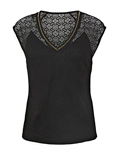 Morgan Tshirt empiècement Dentelle 212-DELAN Camiseta, Negro, L para Mujer