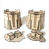Pwork Wargames Industrial 01 - escenografía Industrial Set para miniaturas en Escala 28mm / 35mm - miniaturas de Mesa wargame 3D escenografía Terreno - MDF 3mm