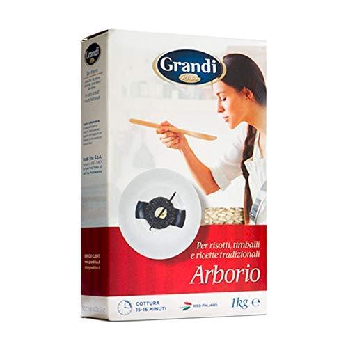 GRANDI RISO Riz Arborio - Arroz Arborio -Para Risotto, Timbales y Recetas Tradicionales- Producto 100 % Italiano - 1 kg