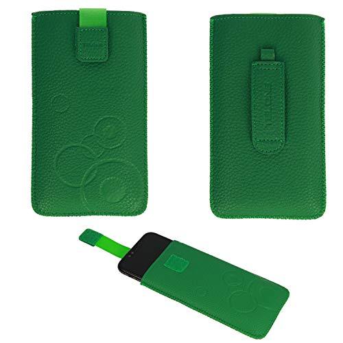 Handyschale24 Slim Hülle für Bea-Fon AL450 Handytasche Grün Schutzhülle Tasche Cover Etui mit Klettverschluss
