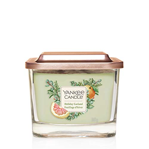 Yankee Candle Elevation Collection Medium 3-Wick Square Scented Candle with Platform Lid, Holiday Garland