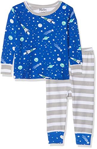 Hatley Hatley Baby-Jungen Organic Cotton Pyjama Set Zweiteiliger Schlafanzug, Blau (Outer Space), 12-18 Monate