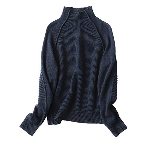 Wenwenma Donna Cashmere Pullover A Manica Lunga A Coste Dolcevita (Blu Navy, Large)