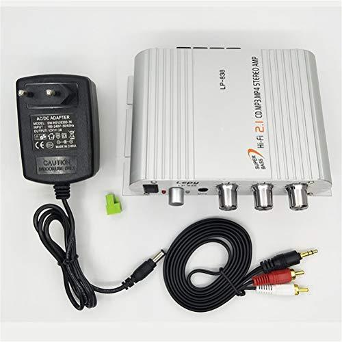 KDLK Con 12V3A Power + Cable De Audio Lepy LP-838 Mini Amplificador De Potencia De Coche De Alta Fidelidad Digital 2.1CH Subwoofer Digital Reproductor De Audio Estéreo Bass (Color : Silver)