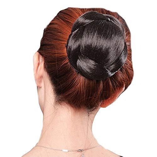 DELLYY weiblich Hochtemperatur Drahtseils Perücke Schnalle und Perücke Haarring echte Perücke Blumenhaar Perücke (Color : Natural Black)