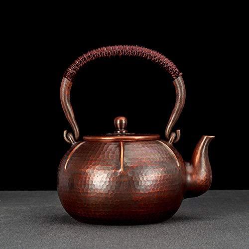 Tetera Olla de cobre de caqui 1.3L Hervidor de agua hirviendo de cobre rojo sin recubrimiento-1,3 litros_cobre rojo