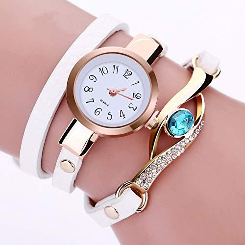 Dylandy Ring Tischaufzug Tischuhr Quarz Mode Strass Armband Armbanduhr Casual Lady Wickeltisch weiß