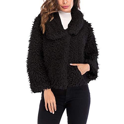 ASHOP Ropa Mujer, Chaquetas de Mujer Casual Formal Abrigo Perro Grande Impermeable Caliente y Esponjoso Top (Negro,S)
