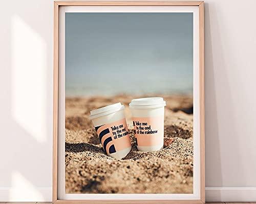 MG global Arte de pared con diseño de Tazas de café de Mar de Barcelona, diseño costero de arena, playa, impresión artística de pared