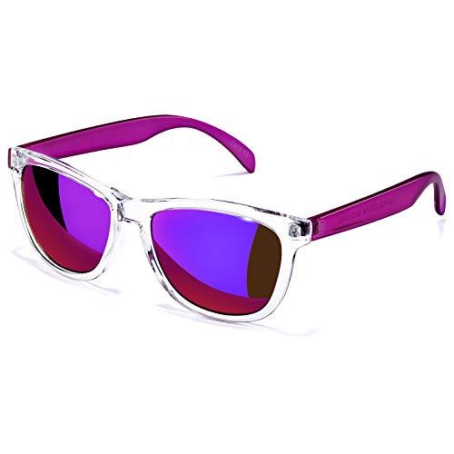 Gafas de sol para mujer UV400 espejadas, apto para exteriores, vacaciones, conducción, C1 - Lente de espejo rosa, 55