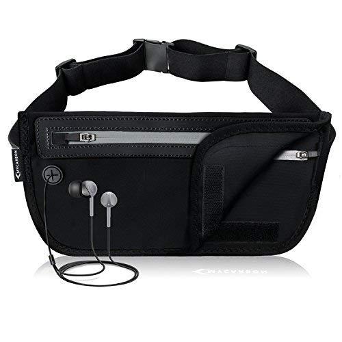MYCARBON Bauchtasche Flach Reisen Sport Hüfttasche RFID 100% Diebschutz | Klappbar Design | Wasserdicht für 6 Zoll Handhy iPhone 6/ 6s/ 6Plus/ 7 Gürteltasche für...