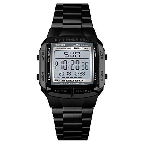 JTTM Reloj De Pulsera Digital para Hombre De Acero Inoxidable, Resistente Al Agua, con Función De Temporizador Y Cronógrafo,Negro