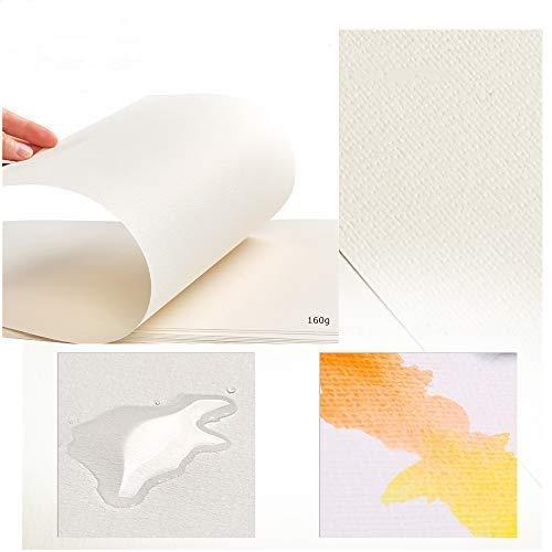 WOWOSS 100 Hojas Papel para Pintura al Óleo y Acrílica, Papel de Algodón Prensado en Frío 160g 8K (37,5 x 26 cm)