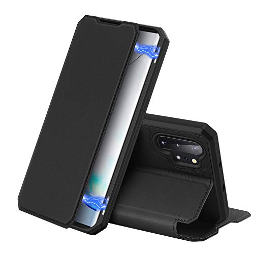 DUX DUCIS Case Compatible with Samsung Galaxy Note 10+ / Note 10 Plus / 5G, Premium Leather Flip Folio Protection Cover with Magnetic Closure for Galaxy Note 10+ Plus / 5G (Black)