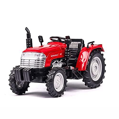 Zpzzy Simulación 1; 32 Coche modelo de tractor agrícola con sonido y luz Puede abrir la puerta Modelo de coche de tractor de aleación Neumático de goma Rueda trasera Tire hacia atrás Colección de vent