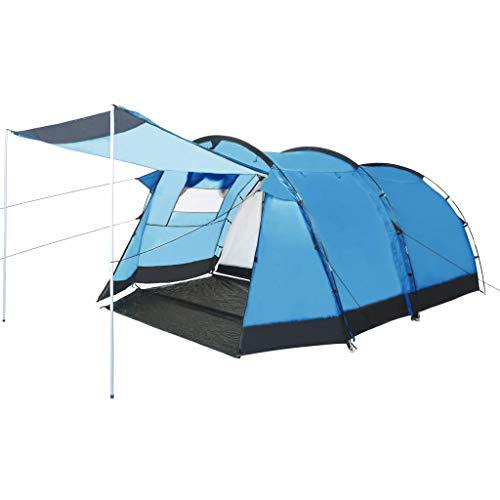 vidaXL Tente de Camping Tunnel Randonnée Voyage Extérieur Aventure de Camping Résistant aux UV et à l'eau Stable Durable 4 Personnes Bleu