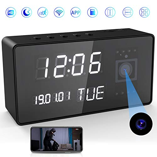 Camera Clock, Hidden Cameras, Nanny Cam, Hidden Camera with Audio HD 1080P WiFi Camera Alarm Clock Hidden Spy Camera with Night Vision,Intelligent Sound Detection