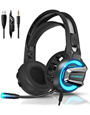 Gaming Headset PS4 Headset with 7.1 Surround Sound, PHOINIKAS Xbox One Headset, Over Ear Headphone with Noise Canceling Mic & RGB Light, Compatible with PS4, Xbox One(Adapter Not Included), PC, Laptop