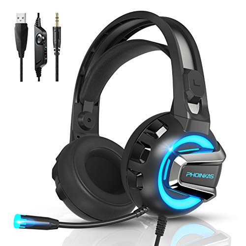 Gaming Headset, Wired Over Ear Headphones for Xbox One, PS4, PC, Bluetooth Wireless Headset for Phone, Bluetooth Up to 12h, One-Click 7.1 Stereo Sound, Detachable Noise Cancelling Mic