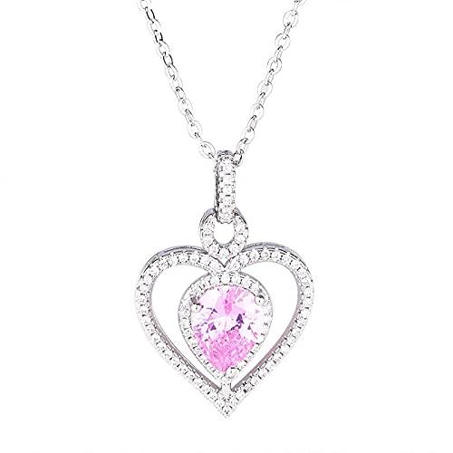 Collar de plata 925 con colgante de piedras preciosas de circonita rosa en forma de corazón, accesorios de joyería para mujeres, compromiso de boda