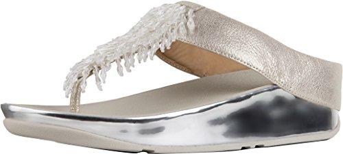 Fitflop Rumba Toe-Thong Sandals, Chanclas para Mujer, Plateado (Metallic Silver 527), 42 EU