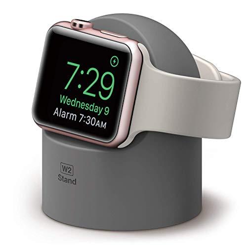 elago W2 Ständer Kompatibel mit Apple Watch Serie 5 (2019) / Serie 4 / Series 3 / Series 2 / Series 1 / 44mm / 42mm / 40mm / 38mm - Nachtmodus, Kabelmanagement, Kratzfestes Silikon (Dunkelgrau)