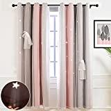 Hughapy Star Curtains for Girls Bedroom Kids Room Decor Light Blocking Voile Overlay Princess Star Hollowed Curtain Colorful Striped Layered Window Curtain, 1 Panel ( 52W x 63L, Pink / Grey)