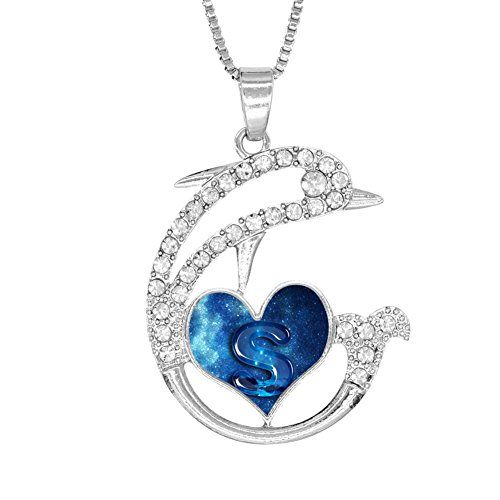 H-Beufun Jumping Dolphin Love Heart Pendant Necklace G-Rin-Ch Christmas 3D Printed Jewelry