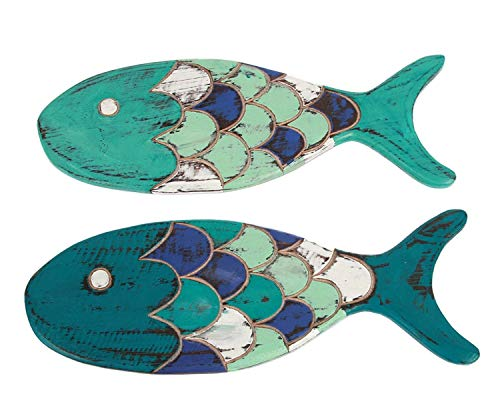 Blue and Teal Wood Fish Wall Decor 14.5 Inches Hand Carved