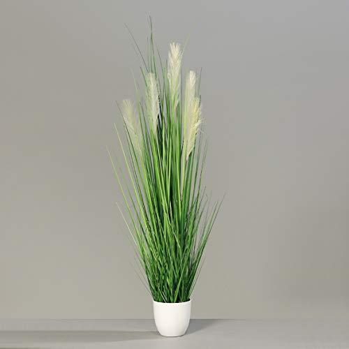 mucplants Palmengras-Busch im weißen Topf, 120 cm, Kunstgras Grasarrangement künstliches Gras Zimmer-, Büro oder Messedekoration