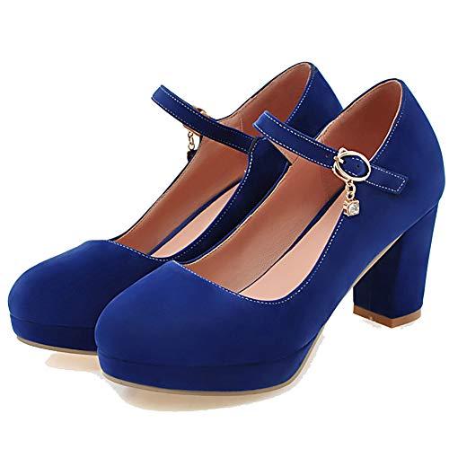 AIMODOR Damen Mary Jane Plateau Schuhe Blockabsatz High Heels Klassisch Pumps Rockabilly Riemchen Absatz königsblau 35