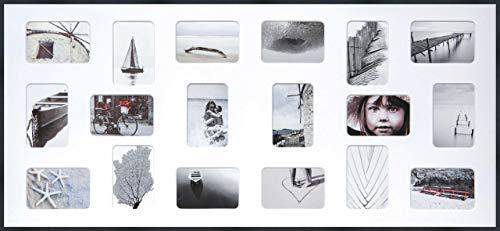 DEHA Aluminium Bilderrahmen Tribeca Collage, 109,2x49,5 cm - 18x 10x15 cm, Struktur Schwarz Matt